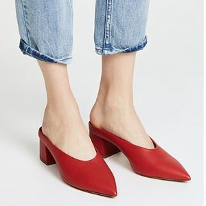 Vince Leather Pointed Toe Heeled Mule Red Sz 7.5